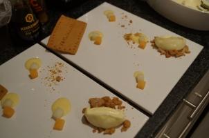 Melon Curd, Ginger biscuits, Lemon Posset & Melon Pieces
