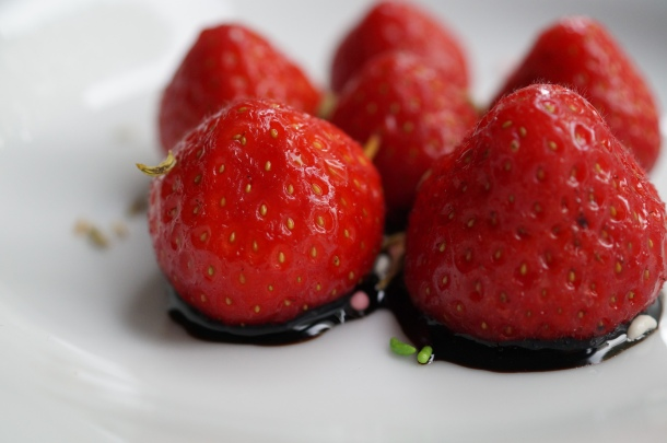 Strawberries with Pan Masala and Balsamic Reduction